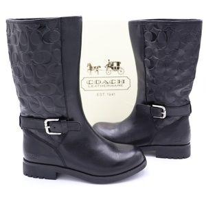 Coach Vera Signature Logo Black Leather Boots